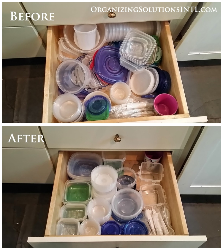 How to Organize Tupperware and Containers - small container drawer organized
