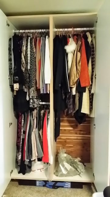 Pairing Down Clothes - off season closet full of unused clothes