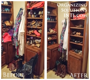 Pairing Down Clothes - shoe cabinets before and after