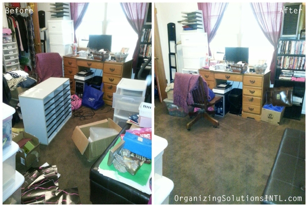 Catch-All Office Organize - before and after organized office