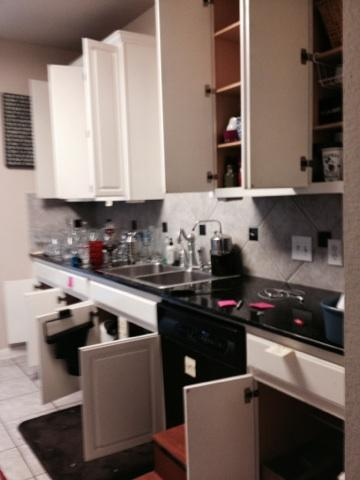 Organizing an Austin Kitchen - Cluttered Counters With Mis-matched Cabinet Items