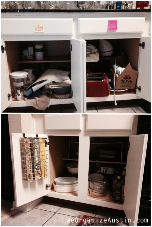Organizing an Austin Kitchen - Organized Floor Cabinets Beforea and After