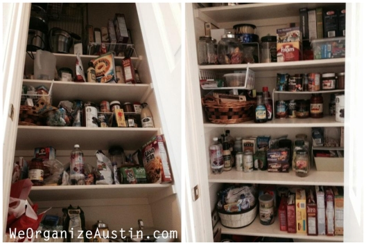 Organizing an Austin Kitchen  - Organized Pantry Shelves Before and After
