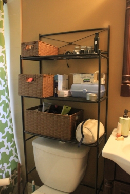 Organizing For Every Room!- uncluttered, organized bathroom storage area