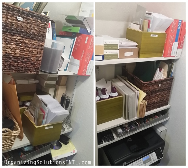 Straightening Up Office Storage - organized office closet before and after