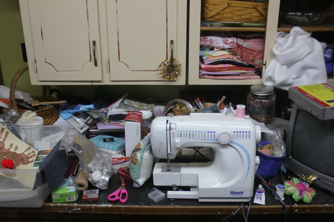 a craft room rediscovered part 2 - messy sewing counter