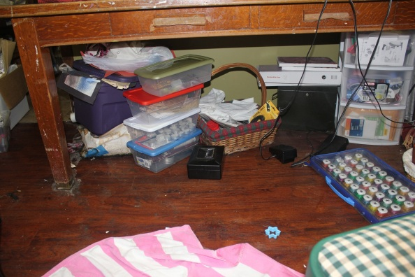 A Craft Room Rediscovered Part 3 - messy under the table