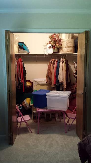 A grandchildrens play closet - messy play closet