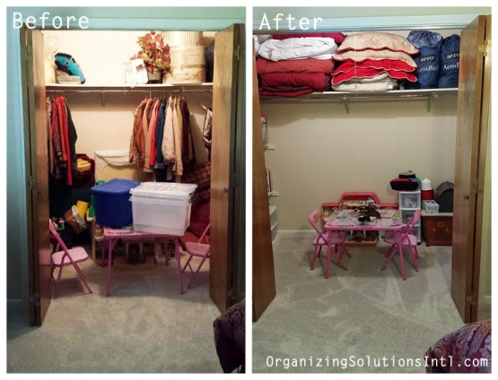 A grandchildrens play closet - organized closet before and after