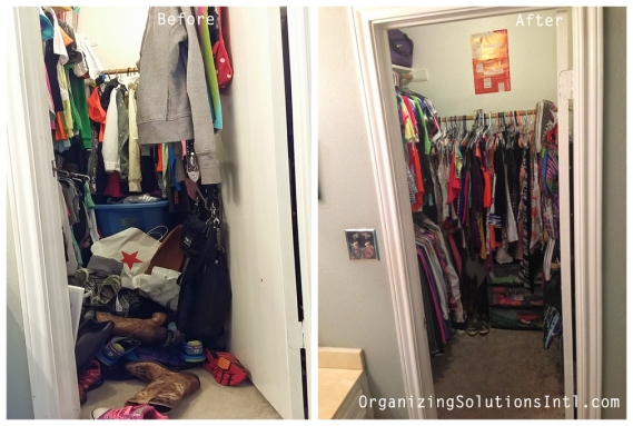 From Closet Chaos to Closet Tidy -  Organized Closet Before and After
