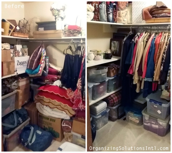 Organizing a Decor Closet - Organized Closet Corner Before and After