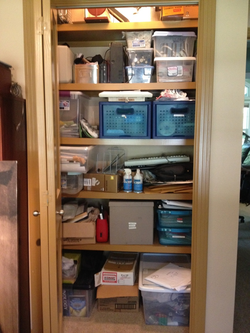 Purging Outdated Technology in a Home Office Closet  - Messy Home Office Closet