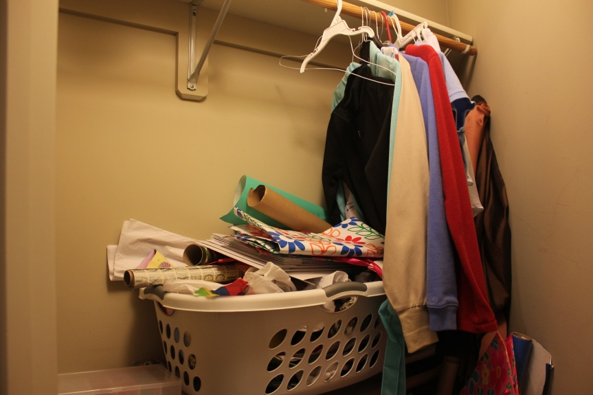 Congested Closet Turned Creative Corner - messy shelf