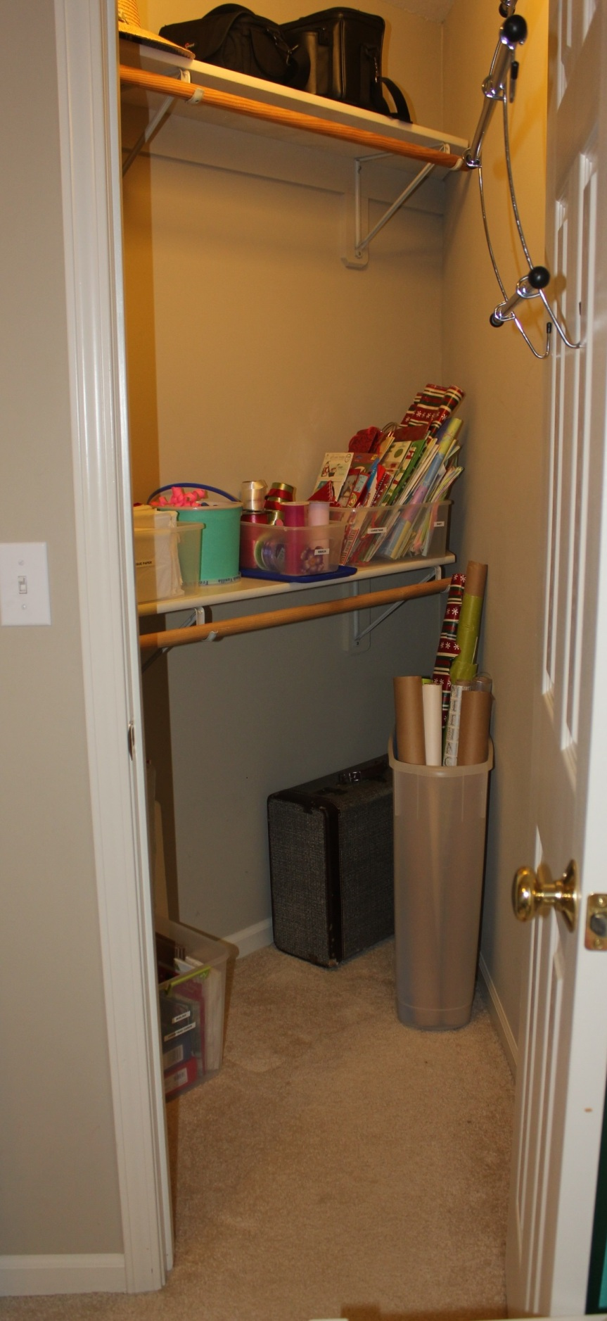 Congested Closet Turned Creative Corner - organized overall closet space