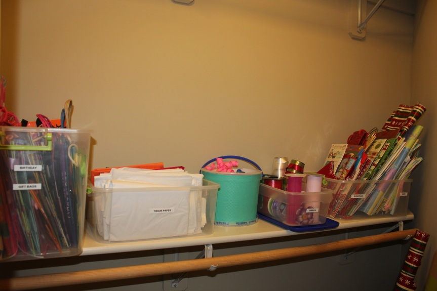 Congested Closet Turned Creative Corner - organized shelf plus covered bucket
