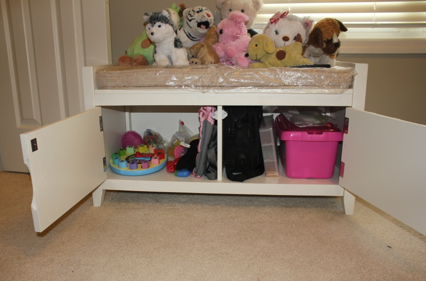 Congested Closet Turned Creative Corner - organized storage bench