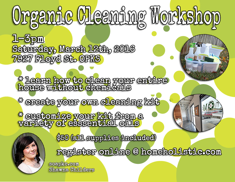 organic cleaning workshop flyer march